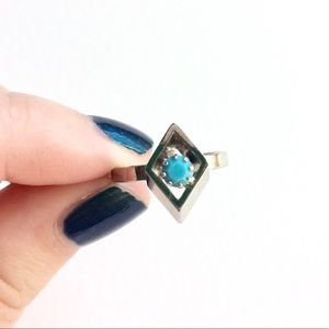 Geometric Diamond Shaped Silver Ring